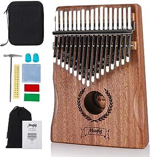 Mugig Kalimba 17 keys with Protection Box and Tune Hammer, Portable Thumb Piano Mbira Sanza Mahogany Body Ore Metal Tines