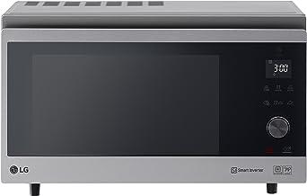 LG MJ3965ACS - Horno Microondas con Grill Smart Inverter, Microondas 1100 W, Grill 950 W, Convección 1850 W, 39 litros de capacidad, Color Negro y Acero
