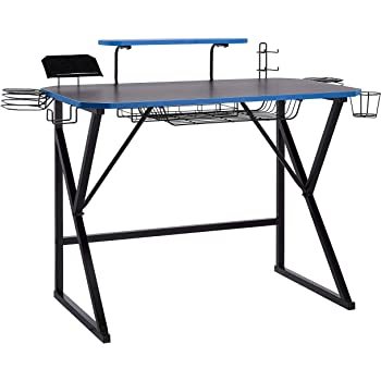 AmazonBasics Gaming Computer Desk with Storage for Controller, Headphone & Speaker - Blue