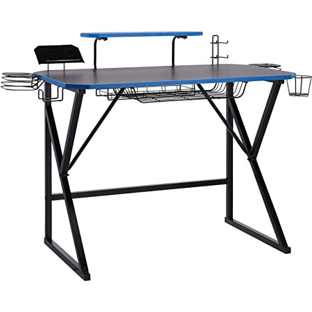 Amazon Basics Gaming Computer Desk with Storage for Controller, Headphone & Speaker - Blue