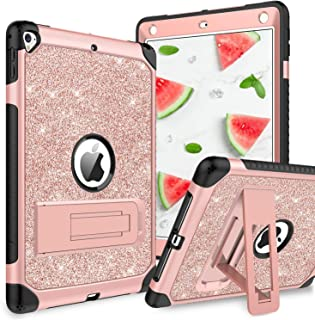 YINLAI iPad 6th 5th Generation Case, iPad Air 2 Case, Case for iPad 9.7 2017/2018/Pro 9.7, 3 in 1 Glitter Shockproof Full Body Protective Soft TPU Bumper Kids Girls Women Kickstand Tab Cover,Rose Gold