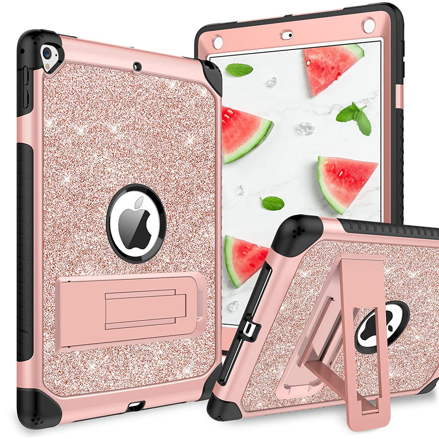 YINLAI Case for iPad 9.7 2017/2018/Air 2/iPad Pro 9.7, Glitters 3 in1 Durable Sturdy Kickstand Full Body Protective Shockproof Girly Women Kids Tab Cover for iPad 9.7 5th/6th/Air 2/Pro 9.7, Rose Gold