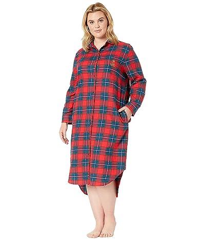 LAUREN Ralph Lauren Plus Size Brushed Twill Long Sleeve Rounded Notch Collar Ballet Sleepshirt (Red Plaid) Women