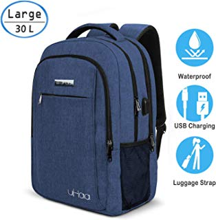 How.R.U - Laptop Backpack for Women&Man, 15.6-17.3 Inch Commuter Backpack, Large Gaming Laptop Bookbag, Thin Bag Laptop Backpack Purse for Business/Travel/Gym, Run Blue Computer Backpack for Girl&Boy