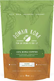 100% Kona Coffee – Whole Bean, Dark roast, NEW label, Single estate gourmet coffee, 8 ounces, Farm fresh roasted from Domain Kona Coffee