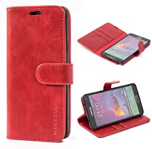 Mulbess Galaxy Note 4 Protective Cover, Magnetic Closure RFID Blocking Luxury Flip Folio Leather Wallet Phone Case with Card Slots and Kickstand for Samsung Galaxy Note 4, Wine Red