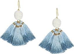 Raffia Pom Pom Earrings with Dip-Dye Tassels
