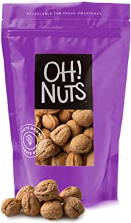 Oh! Nuts Raw Walnuts in Shell | Resealable 2-Lb. Bulk Bag for Ultimate Freshness | All-Natural, Whole Walnuts for a Healthy Vegan Snack | Ideal for Keto & Gluten-Free Diets | Full of Protein & Omega 3