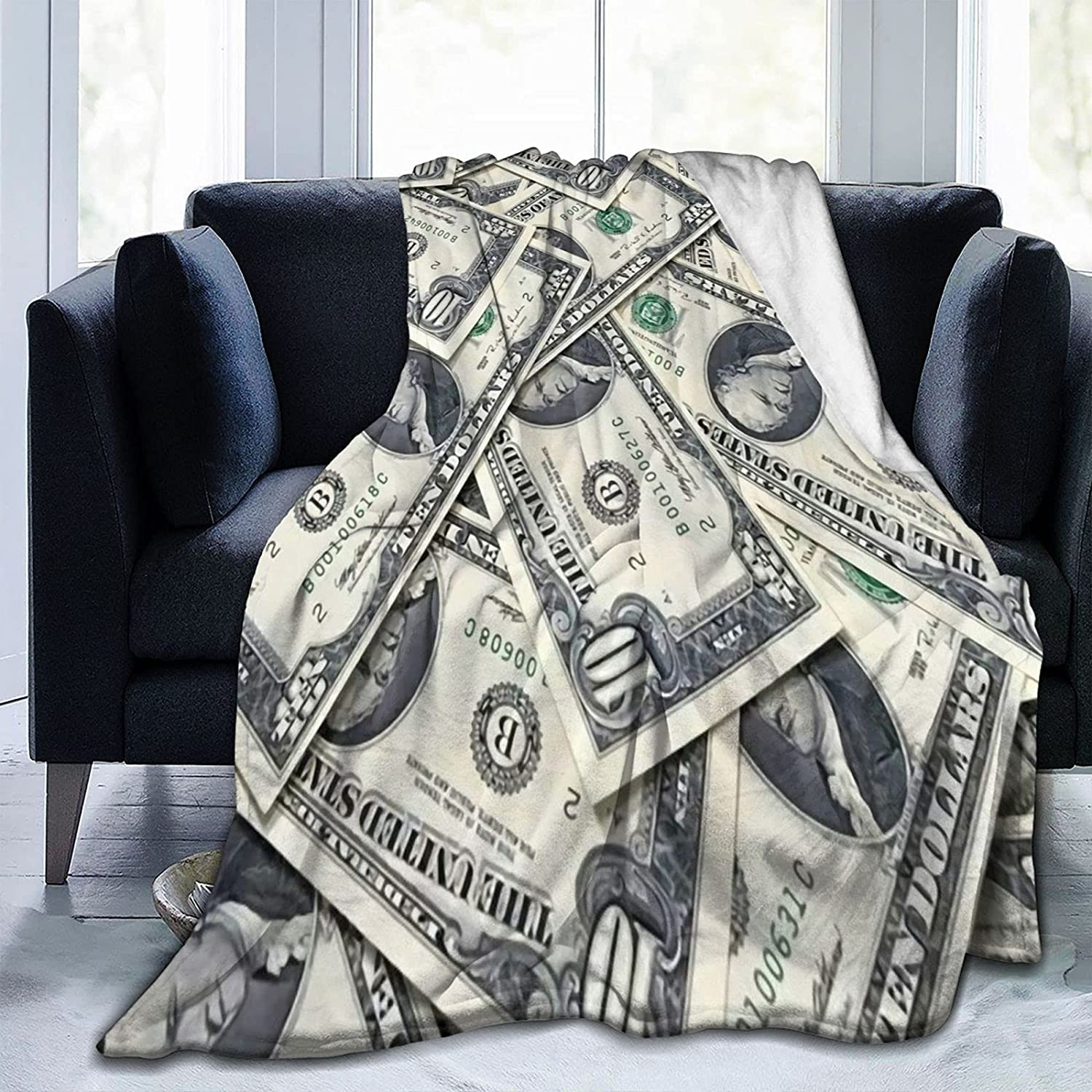 Cash Money Dollars Super Special SALE held Ultra-Soft Micro Throw Blanket Limited time trial price Sea All Fleece