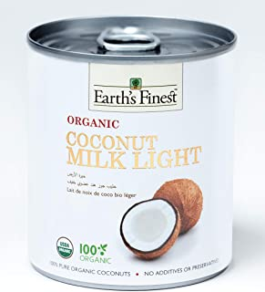 Earth's Finest Organic Coconut Milk Light - 200ml | Reduced Fat Organic Coconut Milk for Professional and Home Cooking | 1...