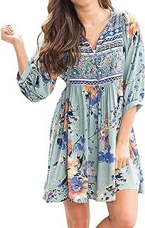 Womens Casual Summer Dresses Floral Boho V Neck 3/4 Sleeve Beach Short Dress