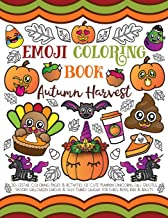 Emoji Coloring Book Autumn Harvest: 30+ Festive Coloring Pages & Activities of Cute Pumpkin Unicorns, Fall Quotes, Spooky ...