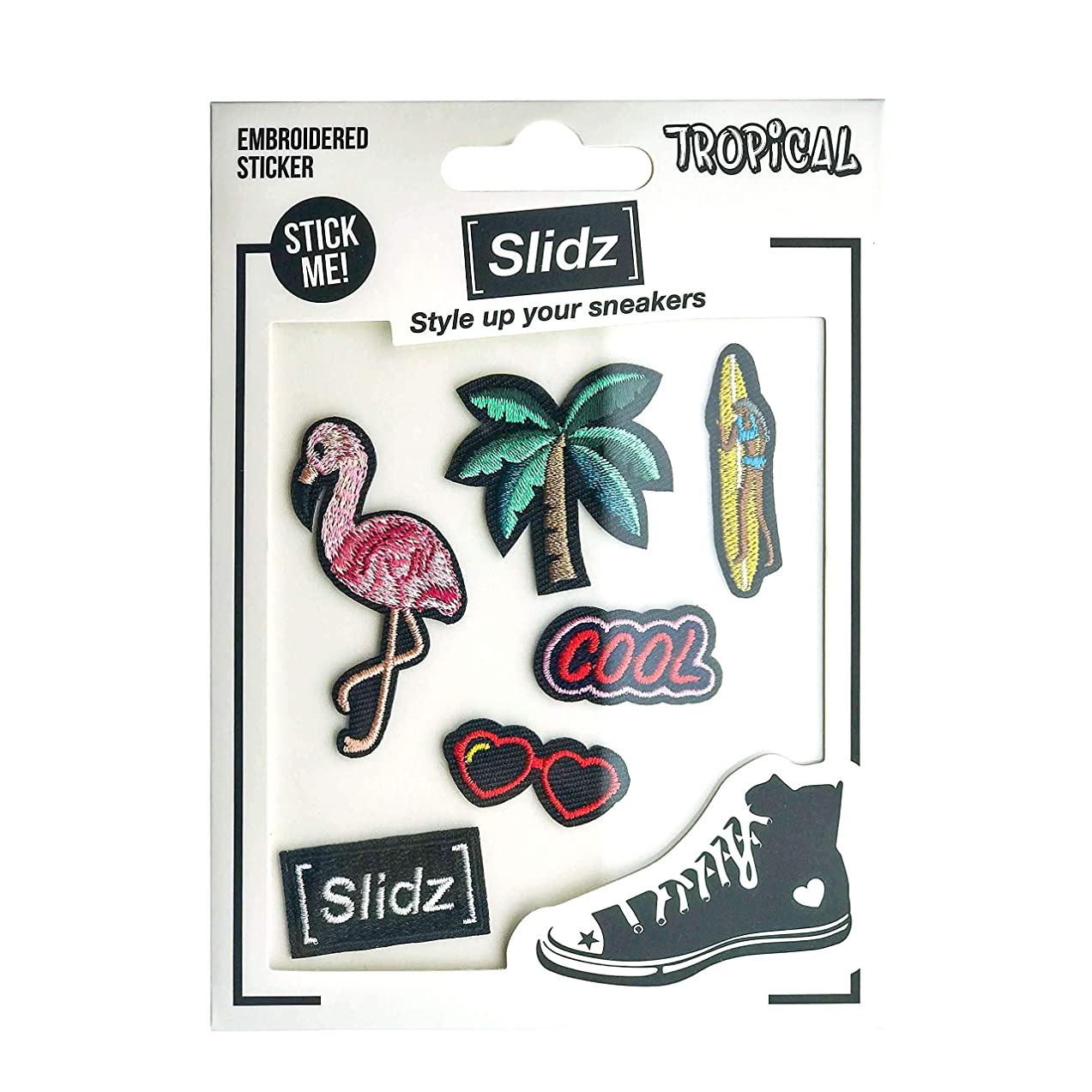 Shoelace Customization - Tropical Embroidered Stickers Patch Set - trainer tag for Nike, Adidas, Converse, Puma, Vans sneakers - Inspirational Gift - Fashion Accessory - shoelace charms for runners