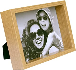 BD ART 4x6 inch Oak Box Picture Frame - Hanging and Standing Display