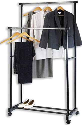 popular SimpleHouseware Double Rod new arrival Portable Clothing sale Hanging Garment Rack online sale