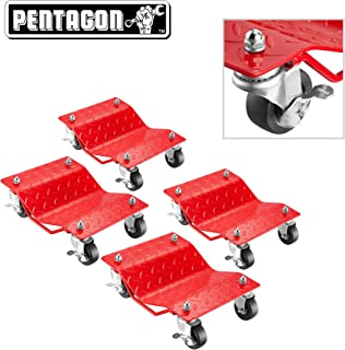 Pentagon Tool   Premium 4-Pack   Car Tire Dolly - Tire Skates   1,500 lbs Rating   Red