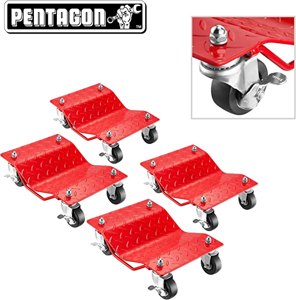 Pentagon Tool Premium 4 Pack Car Tire Dolly Tire Skates 1 500 Lbs Rating Red