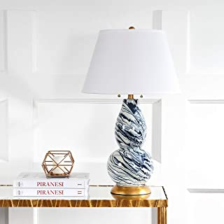 Safavieh Lighting Collection Navy and White Color Swirls Glass 28-inch Table Lamp