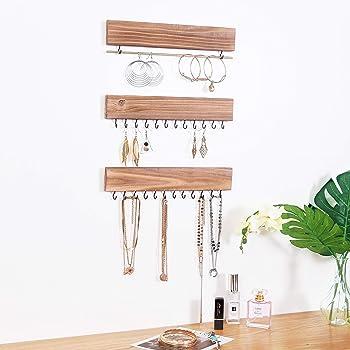 RHF Jewelry Organizer Wall Mounted Set of 3, Wood Hanging Jewelry Organizers, Necklace Holder,Bracelets Hook Rings Ra...