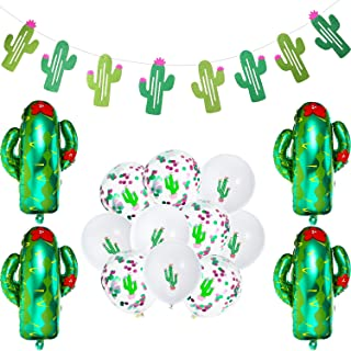 Cactus Party Decoration, Cactus Banner, 10 Piece Cactus Latex Confetti Balloon, 4 Pack 29 Inch Cactus Helium Foil Balloon for Summer Hawaii Party, Cowboy Theme Birthday Party, Mexican Themed Party
