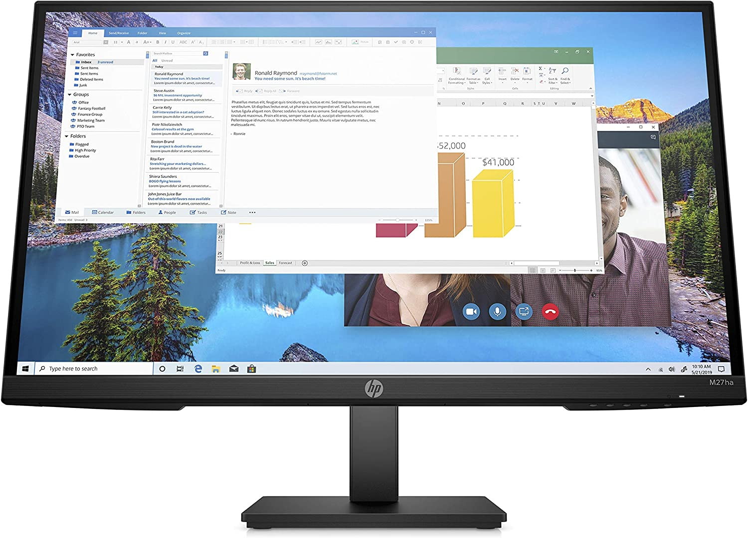HP M27ha Full HD Monitor (1920 x 1080p) IPS Panel Built-in Audio VESA Compatible 27-inch Monitor Designed for Comfortable Viewing with Height and Pivot Adjustment - (22H94AA#ABA) (Renewed)