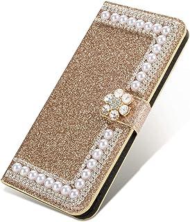 Nadoli Bling fodral till Huawei P Smart 2021, glitter diamant plånbok fodral med ställ kortplatser magnetisk pärlblomma P...