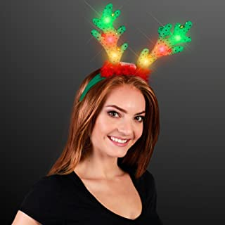 FlashingBlinkyLights Light Up LED Reindeer Antlers with Jingle Bells (Set of 12)