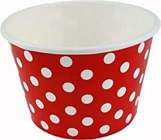 Worlds Paper Ice Cream Cups Polka Dot Paper Yogurt Cups 8oz Red 50 pack