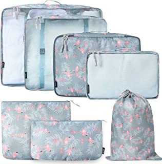 BAGAIL 7-Pcs Lightweight Luggage Packing Organizers Packing Cubes for Travel Accessories (Flamingo7)
