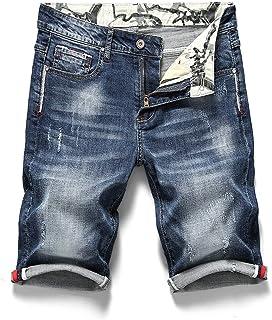 Heren Denim Shorts Stretch Slim Fit Rolzoom Jeans Halve broek, Zomermode Gewassen rechte casual broek met middelhoge taille