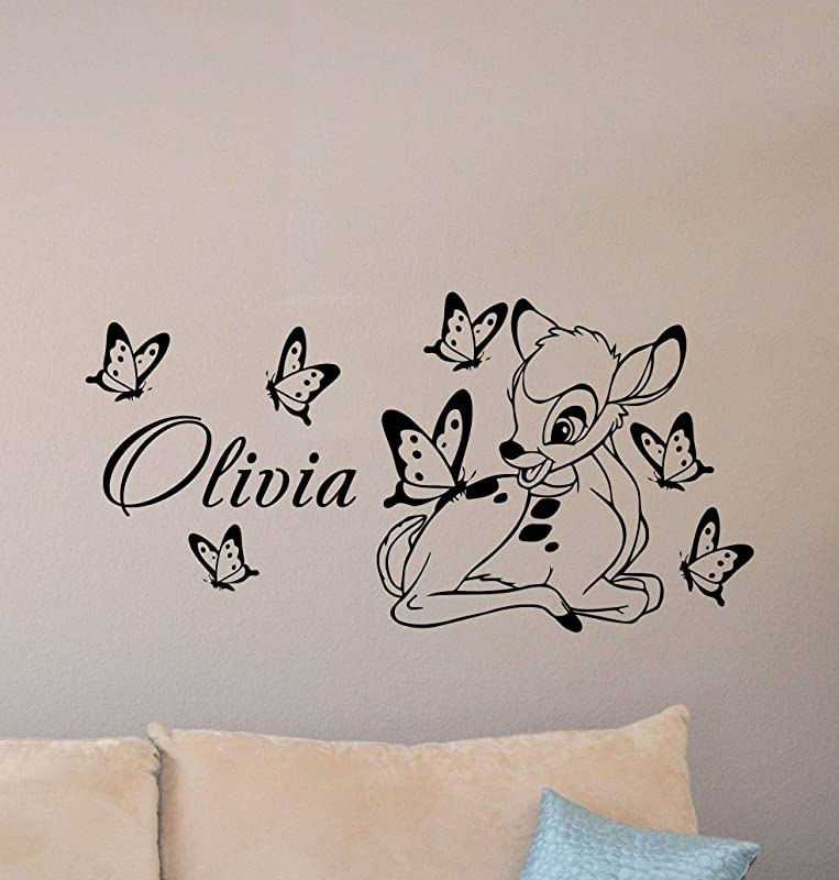 Bambi Wall Decal Personalized Baby Name Poster Custom Sign Disney Quote Nursery Vinyl Sticker Gift Child Room Decor Playroom Wall Made In USA Fast Delivery