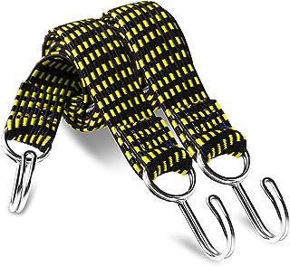 (インタートイボ) INTERTOYBO ゴムロープ 荷台用 ゴム紐 フック付き 自転車 荷台 2本 セット (イエロー, 1m)