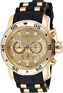 Men's Pro Diver Scuba 48mm Gold Tone Stainless Steel Chronograph Quartz Watch with Black Silicone...