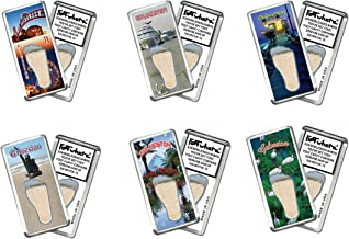 product image for Galveston FootWhere Fridge Magnets. 6 Piece Set. Authentic Destination Souvenir acknowledging Where You've Set Foot. Genuine Soil of Featured Location encased Inside Foot Cavity. Made in USA
