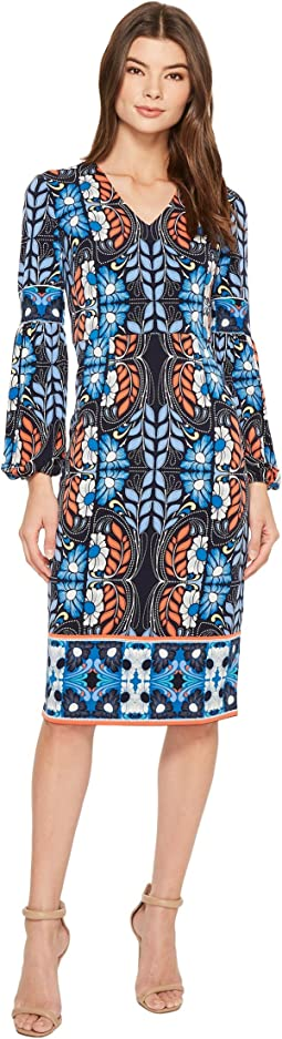 Folk Print Jersey Midi Sheath Dress