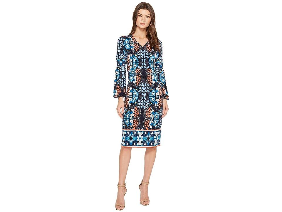 Maggy London Folk Print Jersey Midi Sheath Dress (Navy Blue) Women