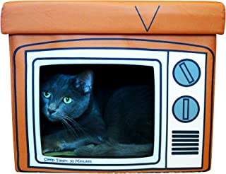 Feline Ruff TV Indoor Cat House Ottoman. A Sturdy Couch Paw-tato Cat Cube Bed with Cushion. Covered Pet Bed Hideaway Cave ...