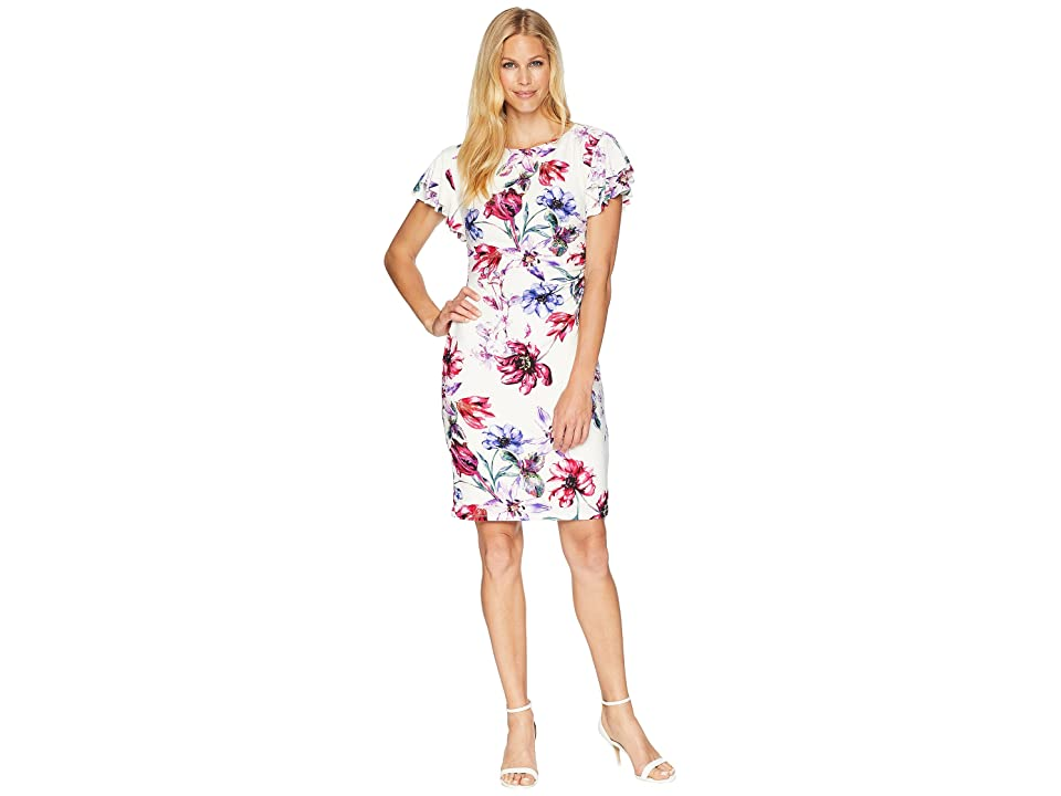 LAUREN Ralph Lauren B595 Swansong Floral Latoya Day Dress (Colonial Cream/Pink/Multi) Women