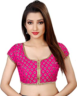 Spangel Fashion Round Neck Women's Pink Color Saree's Blouse for Women's