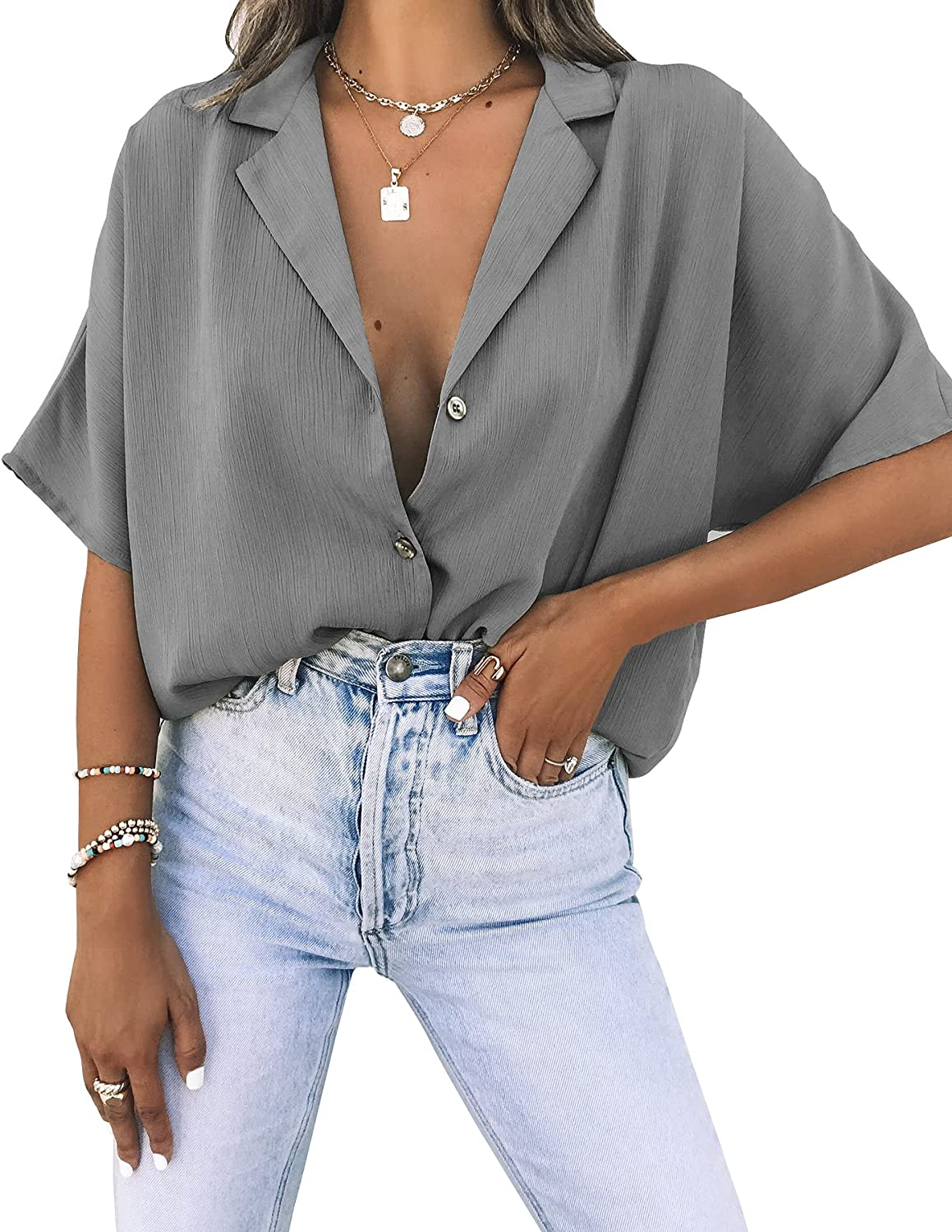 Womens Short Sleeve Button Down Shirts V-Neck Lightweight Loose Fit Casual Blouse Tops