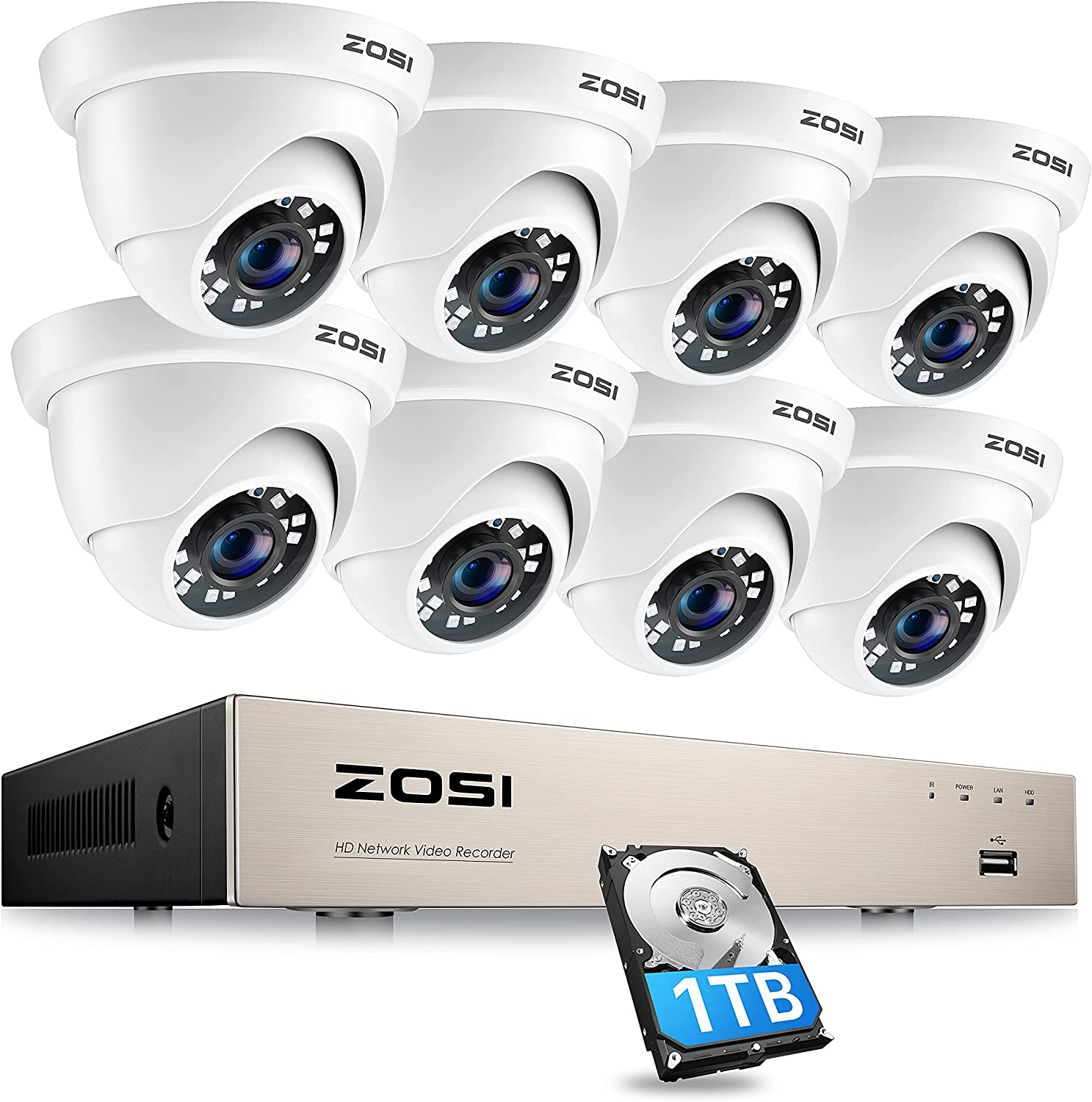 ZOSI 8CH PoE Home Security Camera Drive All Max 50% OFF items in the store H.2 Hard with 1TB System