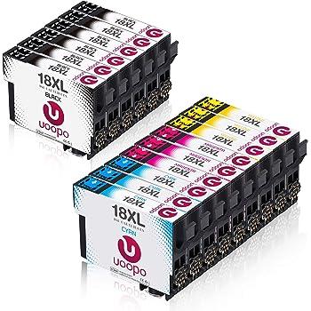Compatible pour Epson Expression Home XP 205 XP 405 XP 415 XP 305 XP 215 XP 412 XP 315 XP 302 XP 312 XP 402 XP 102 XP 212 XP 225 Uoopo Replacement for 18 18XL Cartouches dencre