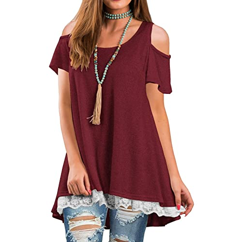 7c0ffcd14d Unidear Womens Cold Shoulder Short Sleeve Lace Hem Tunic T-Shirt Top