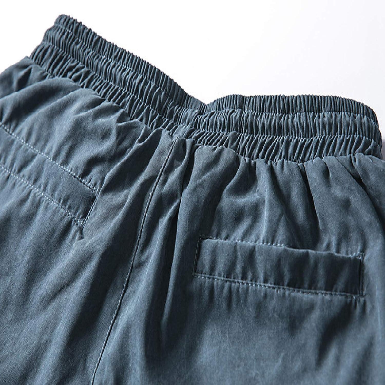 Huntrly Men Cargo Pants Combat Trousers Streetwear Punk Casual Drawstring Ribbons Harem Jogger Pants Multi-Pocket Slim Fit Tracksuit Work Wear Sweatpants