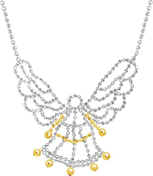 Finecraft Guardian Angel Beaded Necklace Silver and Gold