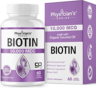 Biotin 10000mcg with Coconut Oil for Hair Growth, Natural Hair, Skin and Nails Vitamins - High Potency Biotin, Non-GMO, Gluten-Free, 60 Veggie Softgels