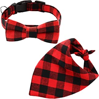 2 Pieces Christmas Dog Bandana and Collar Set Plaid Triangle Scarf and Adjustable Bowtie Collar for Christmas Pet Dog Cat Costume Supplies