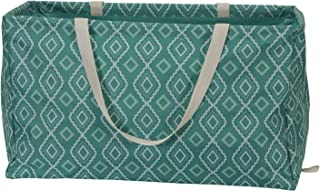 Household Essentials 2243 Krush Canvas Utility Tote   Reusable Grocery Shopping Laundry Carry Bag   Teal With White Diamonds, 22