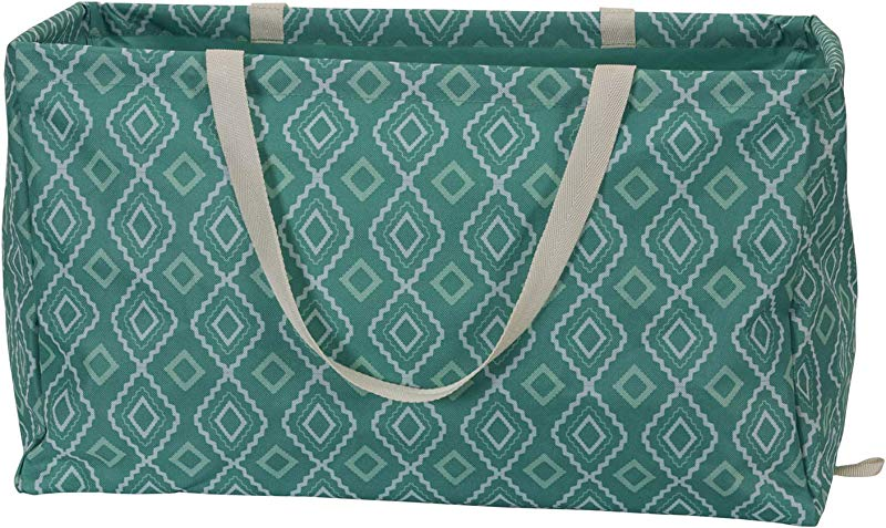 Household Essentials 2243 Krush Canvas Utility Tote Reusable Grocery Shopping Laundry Carry Bag Teal With White Diamonds 22 L X 11 W X 13 H