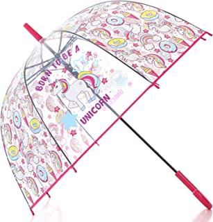 Unicorn Transparent Stick Kids Umbrella (Rose)